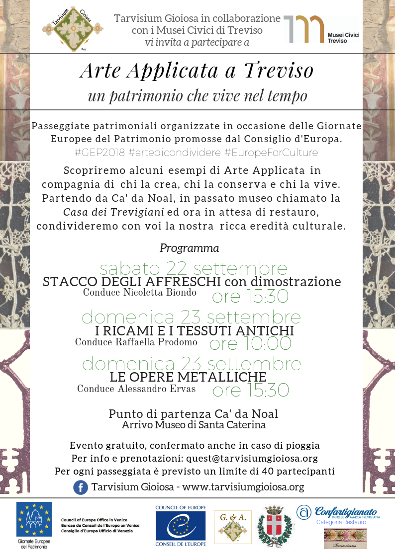 locandina ARTE APPLICATA CA DE NOAL 22-23 SETT 2018